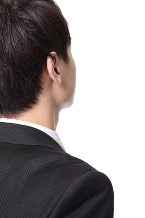 turn back: business man from the back - looking at something isolated over a white background, asian people Stock Photo
