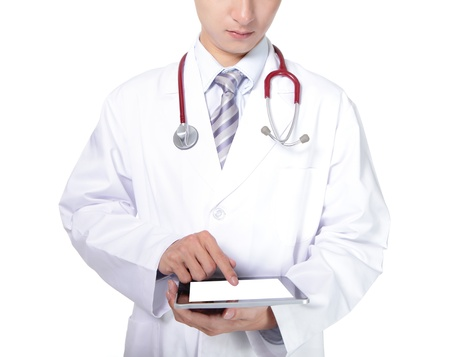 Doctor in white coat with stethoscope showing blank digital tablet pc. Isolated on white background, asian model photo