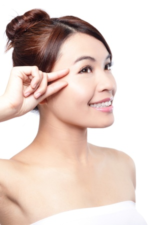 Beautiful woman smile face and finger point to eyes, concept for eye and skin care, isolated over white background, asian beauty photo