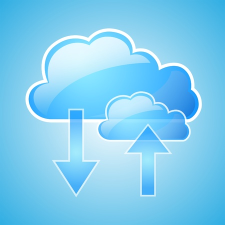 Cloud computing concept design, blue background Vector