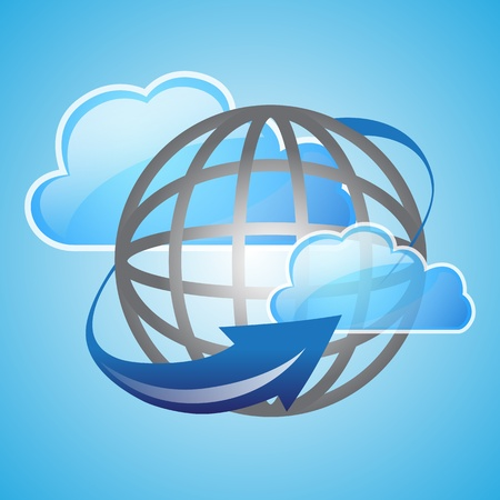 Vector illustration of cloud based global and arrow concept for business cloud computing Vector