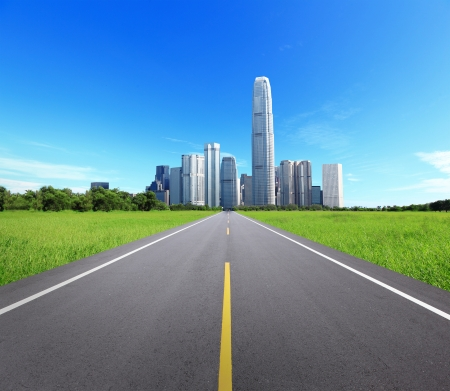 City Landscape with Trees and Road, concept for business and eco, great for your background photo