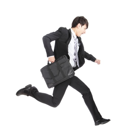 jump suit: business man running on isolated white background, full length, asian model