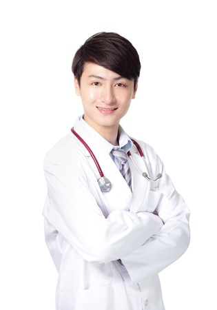 Portrait of a young doctor with his arms cross isolated on white background, asian model photo