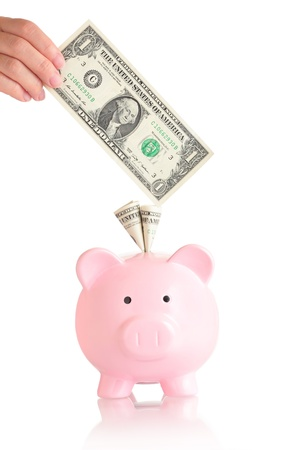 money box: pink piggy bank  with money ( usa one Dollar banknotes )