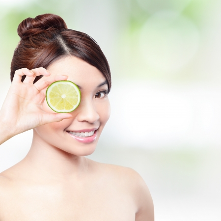 lemon for health concept  Woman showing tomatoes and holding tomatoes in front of her eyes  asian beauty model photo