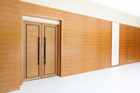 meeting place: wooden Door to conference room for a business meeting