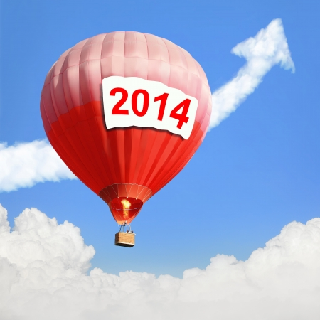 Hot Air Balloon with big billboard ( empty copy space ) and blue sky, easy for your design photo