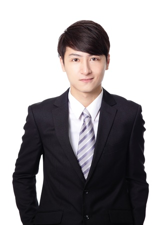 podnikatel: Asijský podnikatel úsměv tvář detailní izolovaných na bílém pozadí Reklamní fotografie