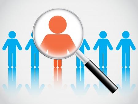 Human resource begrip, vergrootglas zoeken mensen Stock Illustratie