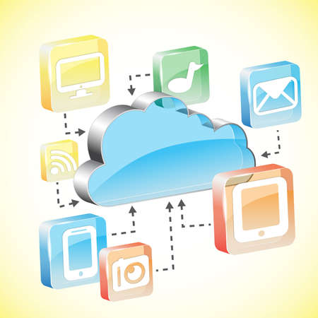 Cloud computing concept. Client computers communicating with resources located in the cloud Stock Vector - 20666991