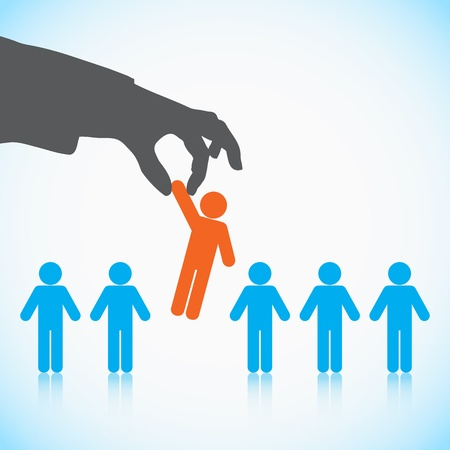 Human Resources concept: choosing the perfect candidate for the job Çizim