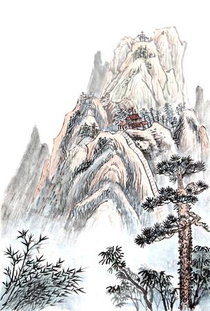 雲と霧と高山の風景の伝統的な中国絵画