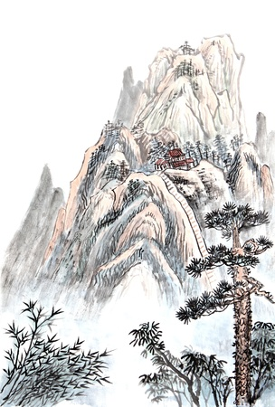 chinese painting: Traditional Chinese painting of high mountain landscape with cloud and mist