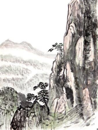 china art: Traditional Chinese painting of high mountain landscape with cloud and mist