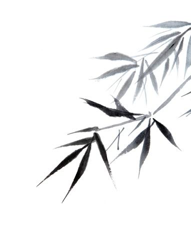 대나무 잎, 전통적인 중국 달 필 아트 흰색 배경에 고립입니다.