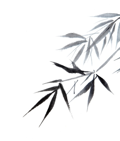 brush painting: bamboo leaf , traditional chinese calligraphy art isolated on white background.