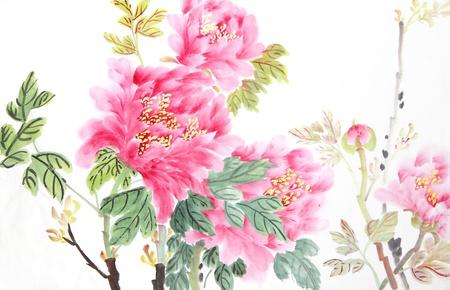 flores chinas: flor peon? la tinta y la pintura tradicional china de lavado.