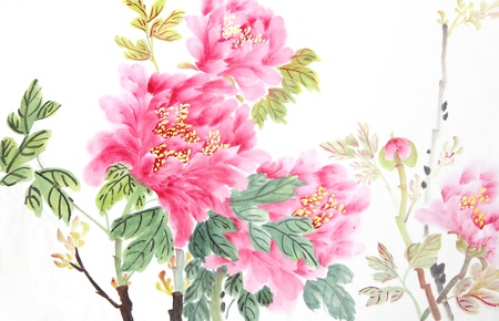 flower flora: peony flower,Traditional chinese ink and wash painting. Stock Photo