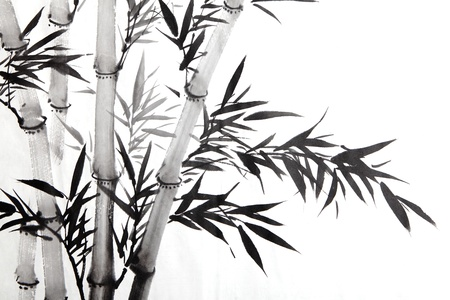 japan calligraphy: bamboo leaf , traditional chinese calligraphy art isolated on white background.