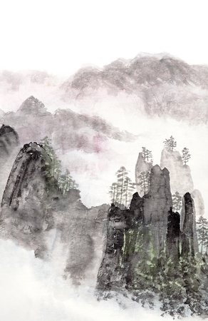 구름과 안개와 높은 산 풍경의 전통 중국어 회화