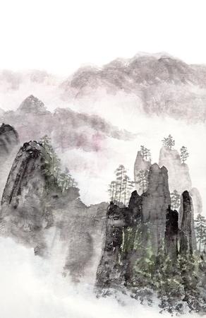 Traditioneel Chinees schilderij van het hooggebergte landschap met wolken en mist Stockfoto