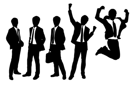 team winner: Silhouettes of Businessmen with white background