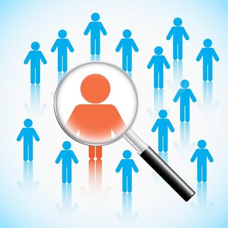 interview job: Concepto de recursos humanos, las personas en busca de aumento de vidrio Vectores