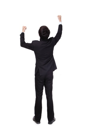 Back view of Excited business man with arms raised in full length Isolated on white background, mode is a asian people photo
