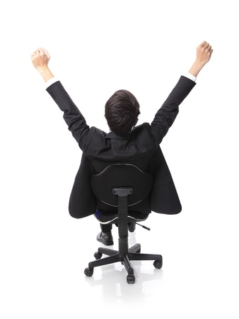 excited: Back view of Successful excited Business man sitting in chair, young businesspeople smile raised hands arms, Isolated over white background, asian people
