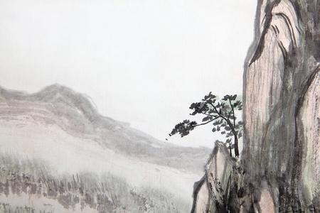 Pittura tradizionale cinese del paesaggio di alta montagna con nuvole e nebbia Archivio Fotografico - 20895191
