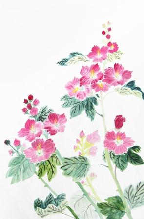 les fleur: fleur rose et rouge, encre traditionnelle chinoise et la peinture de lavage. Banque d'images
