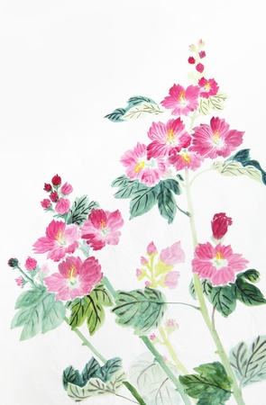 traditional plants: pink and red flower,Traditional chinese ink and wash painting.