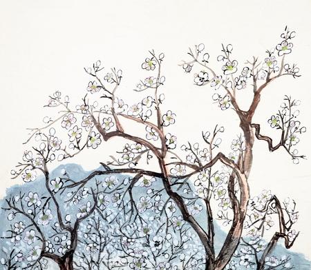Traditionele Chinese schilderkunst van pruimenbloesem in het land