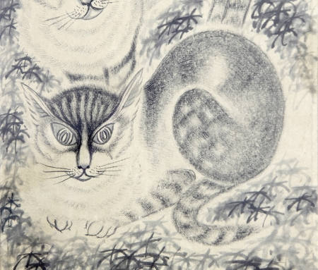 chinese painting: cat by Traditional Chinese painting Stock Photo
