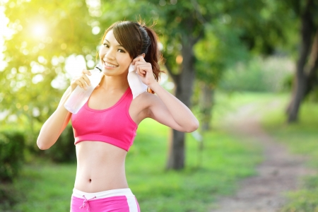 outdoor fitness: Healthy woman drinks water, doing sport outdoor, fitness, diet   body care concept