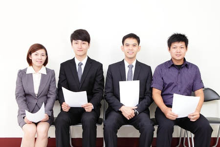 applicant: people waiting for job interview, asian people