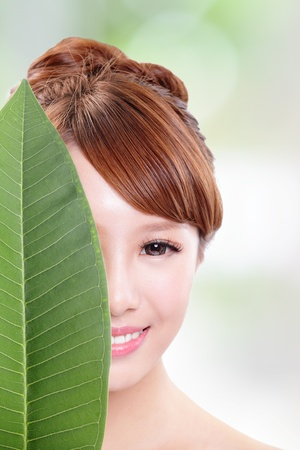beautiful woman face portrait with green leaf , concept for skin care or organic cosmetics , asian beauty model photo