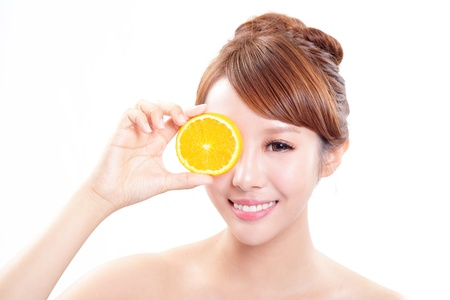 Beautiful woman face with juicy orange, isolated on white background, asian beauty model photo
