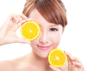 with orange and white body: Beautiful woman face with juicy orange, green background, asian beauty model