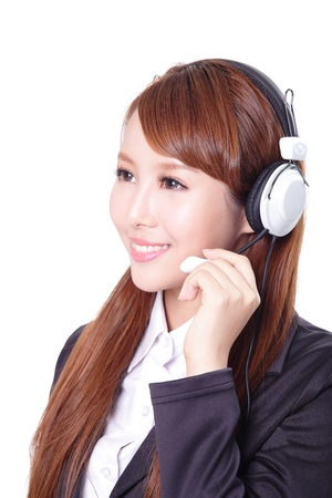 close up portrait of a business woman wearing headset, asian woman model photo