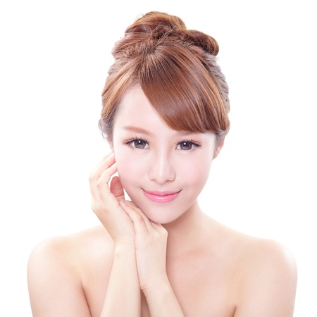 Porträt der Frau mit Schönheit Gesicht und perfekte Haut auf weißem Hintergrund, asiatische Modell isoliert Standard-Bild - 21286654