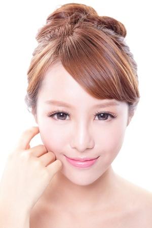 아름다움의 얼굴과 흰색 배경, 아시아 모델에 절연하는 완벽 한 피부를 가진 여자의 초상화 스톡 콘텐츠 - 21378589