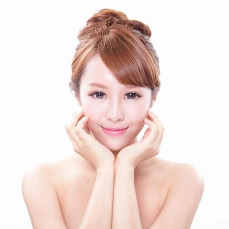portrait of the woman with beauty face and perfect skin isolated on white background, asian model