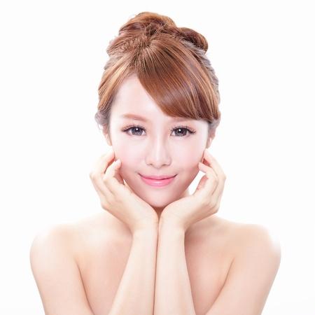 Ritratto di donna con il viso bellezza e la pelle perfetta isolato su sfondo bianco, modello asiatico Archivio Fotografico - 21378592