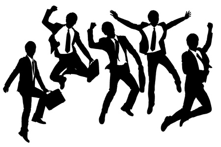 arms raised: Silhouettes of happy jump and running Businessmen with white background