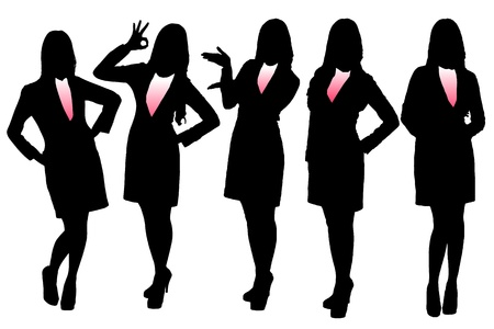 standing on white background: Silhouettes of Business woman with white background