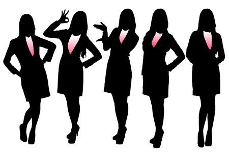 grupo: Siluetas de la mujer de negocios con el fondo blanco