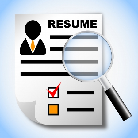 employed: Resume and magnifying glass, human resource, recruitment Illustration
