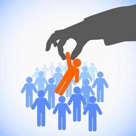 인적 자원 개념 : 작업에 대한 완벽한 후보를 선택 일러스트